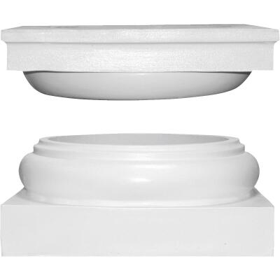 Crown Column Cap 9-1/2 In., Base 10-3/8 In. Unfinished Plastic Round Cap/Base Set