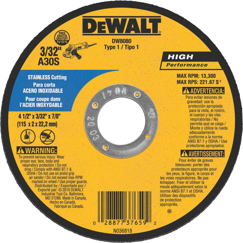 DeWalt HP Type 1, 4-1/2 In. Cut-Off Wheel Image 1