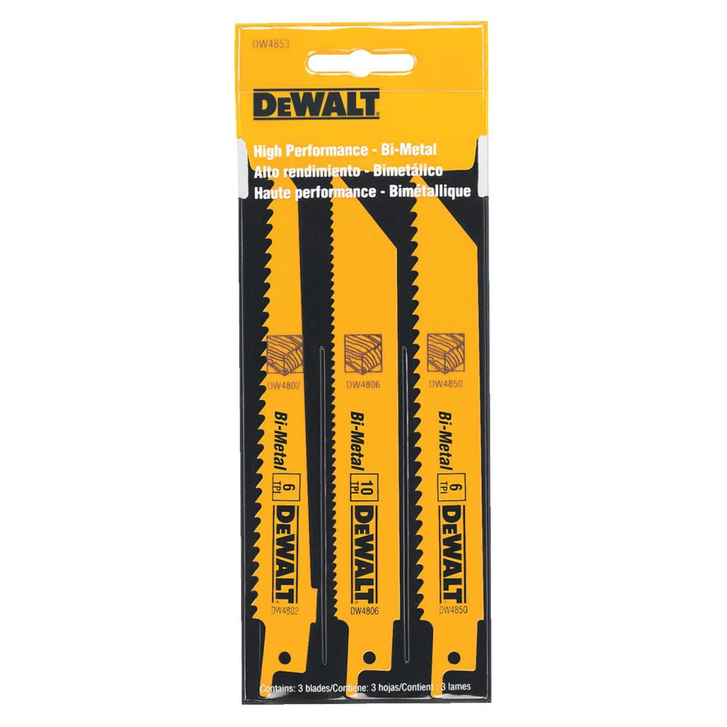 DeWalt 3-Piece Reciprocating Saw Blade Set Image 1